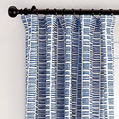 Hatch Stripe Drapery Panel -Indigo