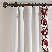 Varenna Crewel Suzani Border Drapery Panels - Set of 2 Red