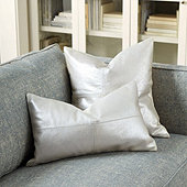 Luna Shimmer Leather Pillow Cover