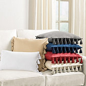Tassel Trim Twill Pillow Cover