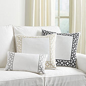 Embroidered Square Trellis Pillow Cover