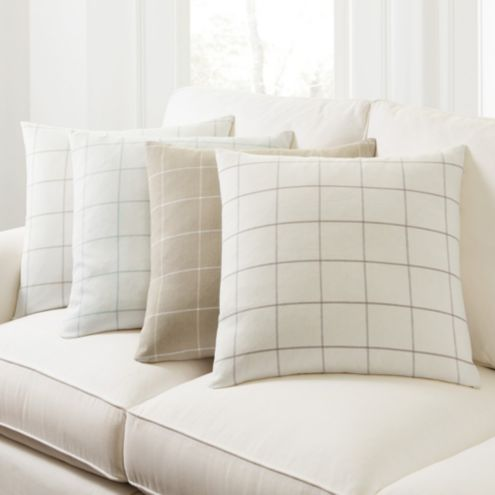 Jones Windowpane Linen Throw Pillow