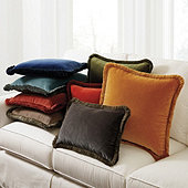 Fringed Signature Velvet Pillow Cover