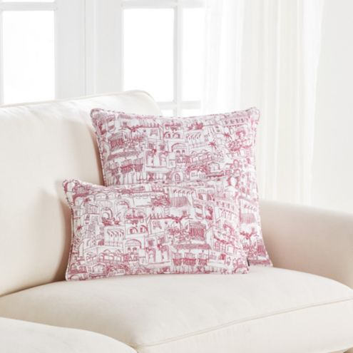 Almeria Pink City Toile Design Throw Pillow