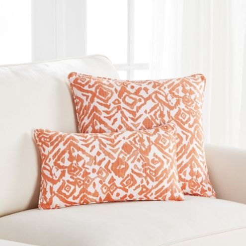 Cassia Orange Ikat Throw Pillow
