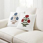 Dahlia Crewel Embroidered Pillow Cover