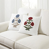Dahlia Crewel Embroidered Pillow
