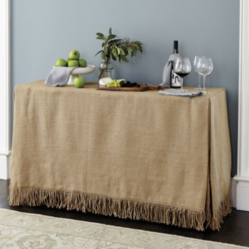 Fringed Burlap Console Tablecloth