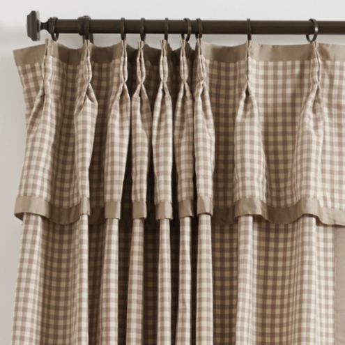 Check Drapery Panel with Valance Small Black Check