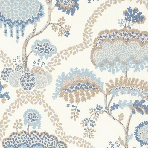 Allie Sky Blue Floral Upholstery Fabric