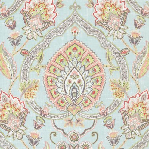 Cari Sky Blue Paisley Cotton Upholstery Fabric