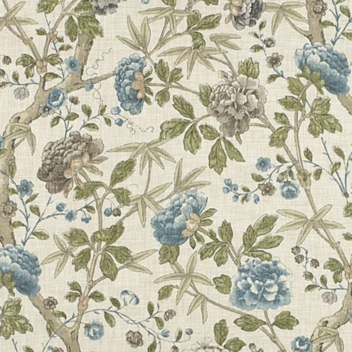 Heidi Blue Jacobean Floral Upholstery Upholstery Fabric
