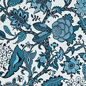 Lucinda Jacobean Teal Sunbrella® Performance Fabric By The Yard