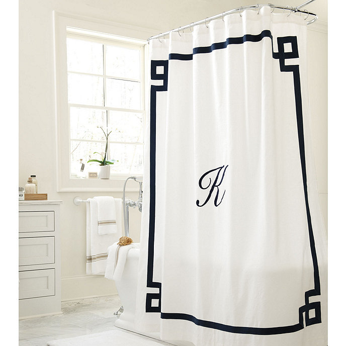Suzanne Kasler Greek Key Linen Shower Curtain Product 2 Current Slide 1