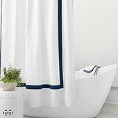 Linen Trim Shower Curtain - Select Colors