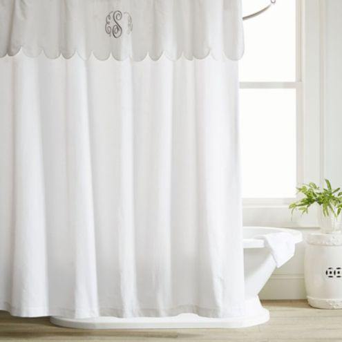 Emma White Scalloped Shower Curtain