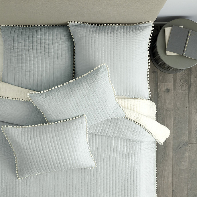 Ballard Design Pillows audree pom pom quilt - gray | ballard designs | ballard designs