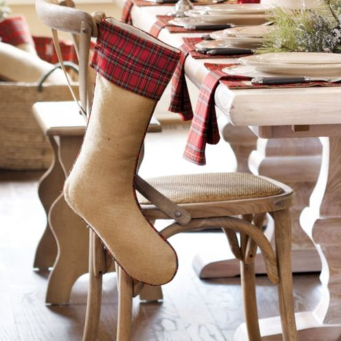 Suzanne Kasler Burlap and Red Plaid Stocking