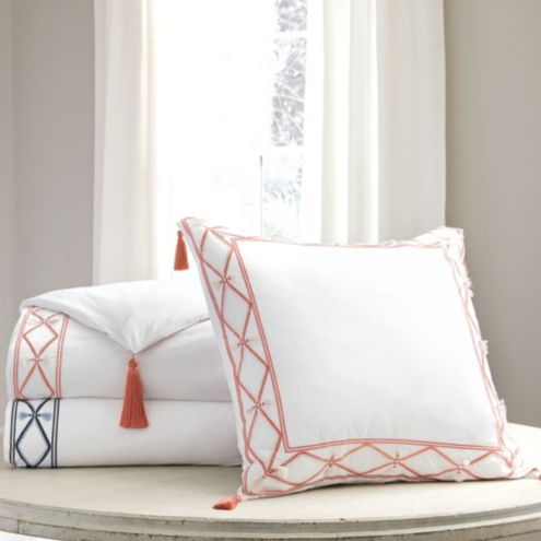 Ariana Tassel & Embroidery Duvet Cover Coral King