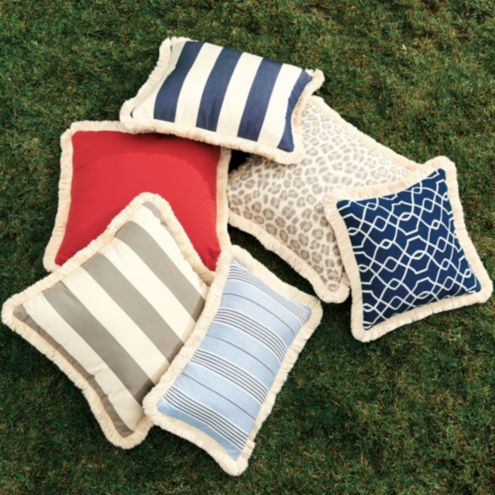 20 Inch Square Custom Fringed Pillow - Outdoor