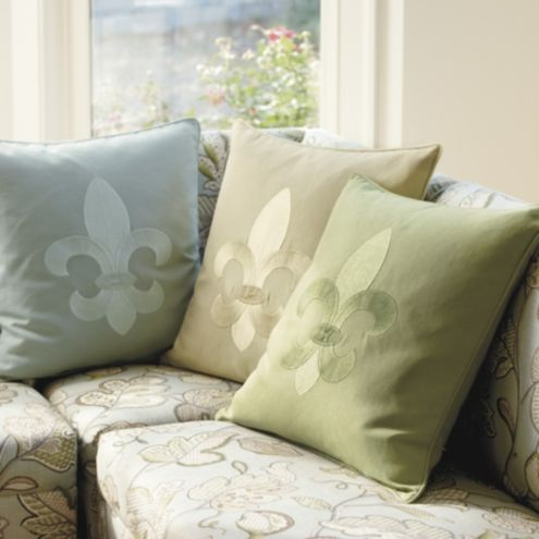 Embroidered Fleur De Lis Pillow Cover With Insert 20 Inch