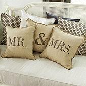 Mr & Mrs Burlap Pillow Cover