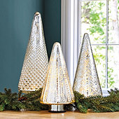 Lit Mercury Glass Trees