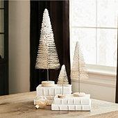 Glitter Bottle Brush Trees - Set of 3