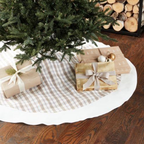 Suzanne Kasler Plaid Blanc Tree Skirt