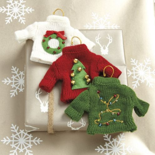 Festive Sweater Ornaments - Set of 3