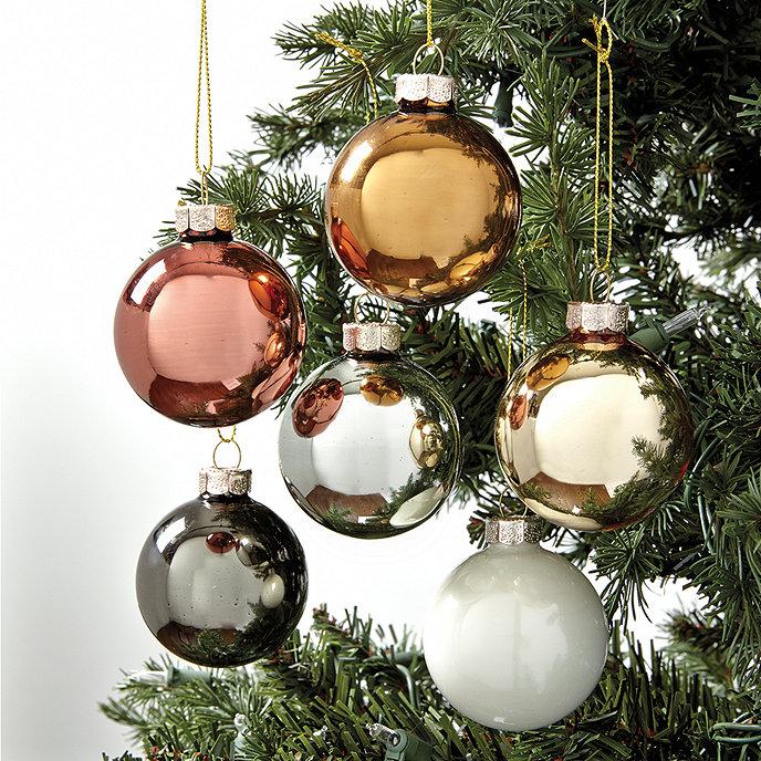Mixed Metals Glass Ornaments Set Of 12
