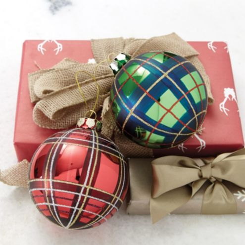 Suzanne Kasler Plaid Glass Ornaments - Set of