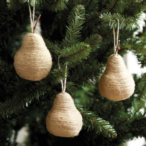 Twine Pear Rustic Christmas Ornaments Set of 3
