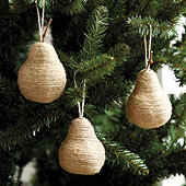 Twine Pear Ornaments - Set of 3