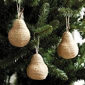 Twine Pear Ornaments - Set of 3