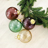 Angelina Glass Ornaments - Set of 4