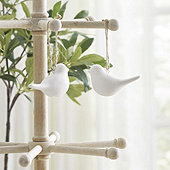 Bisque Dove Ornaments - Set of 2