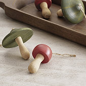 Wooden Mushroom Ornaments - Assorted Set of 2