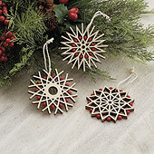 Wooden Cut Out Snowflake Ornaments - Assorted Set of 3