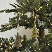 Wooden Holiday Tree Ornaments - Set of 2