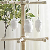 Bisque Owl & Acorn Ornaments - Assorted Set of 3