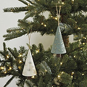 Wooden Christmas Tree Ornaments - Set of 2