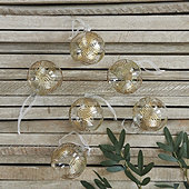 Golden Leaves Glass Ornaments - Set of 6