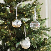 Holly Berry Branch Ornaments - Set of 6