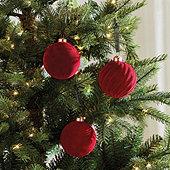 Red Velvet Glass Ornaments - Set of 3
