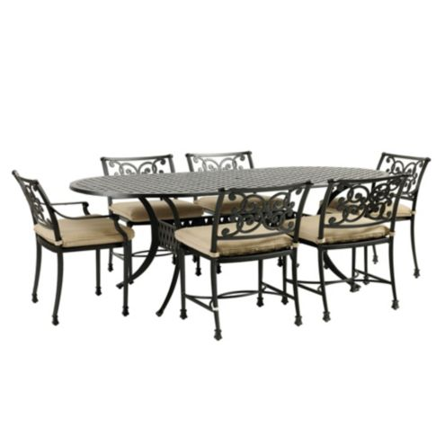 Amalfi 7-Piece Oval Dining Set with Cushions