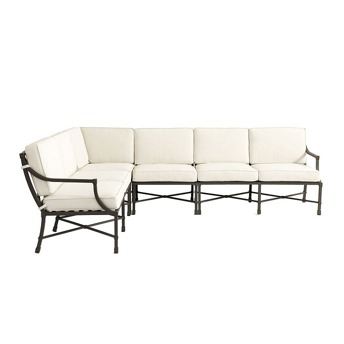 Astounding Suzanne Kasler Directoire 4 Piece Sectional With Cushions Theyellowbook Wood Chair Design Ideas Theyellowbookinfo