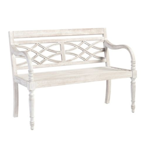 Ceylon Whitewash Garden Bench