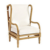 Ceylon Teak Wingback Occasional Chair with Cushions