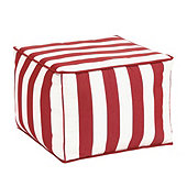 Outdoor Pouf - Canopy Stripe Red/White Sunbrella